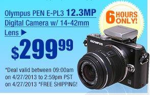 $299.99 -- Olympus PEN E-PL3 12.3MP Digital Camera w/ 14-42mm Lens.