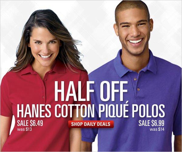 1/2 off Hanes Cotton Pique Polos