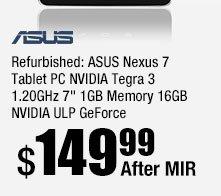 "ASUS Nexus 7 Tablet PC NVIDIA Tegra 3 1.20GHz 7"" 1 GB Memory 16GB NVIDIA ULP GeForce."