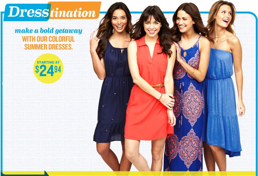 Dresstination | make a bold getaway WITH OUR COLORFUL SUMMER DRESSES. | STARTING AT $24.94