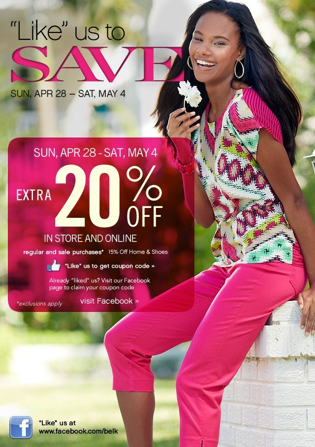 """Like"" us to Save. Sun, Apr 28 - Sat, May 4. Extra 20% off. Get coupon."