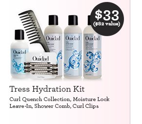 Tress Hydration Kit Curl Quench Collection, Moisture Lock Leave-In, Shower Comb, Curl Clips