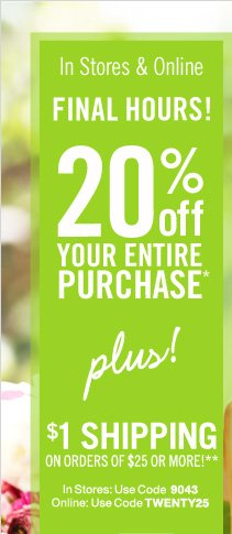 20% Off Your Entire Purchase*