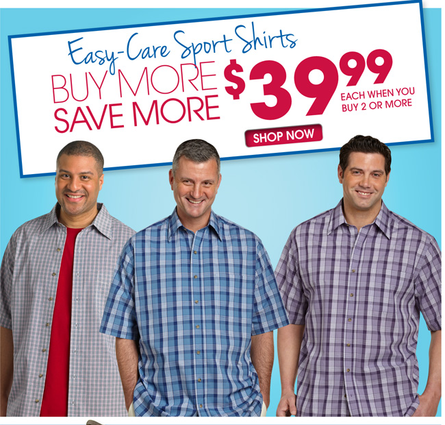 Buy More Save More Easy Care Sport Shirts