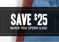 SAVE $25 WHEN YOU SPEND $100