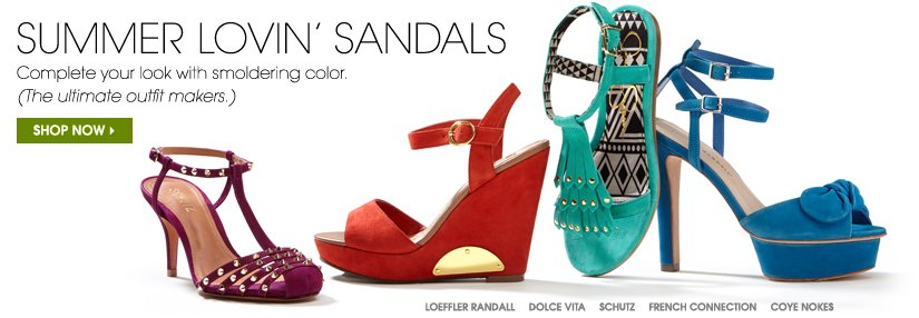 SUMMER LOVIN' SANDALS. SHOP NOW.
