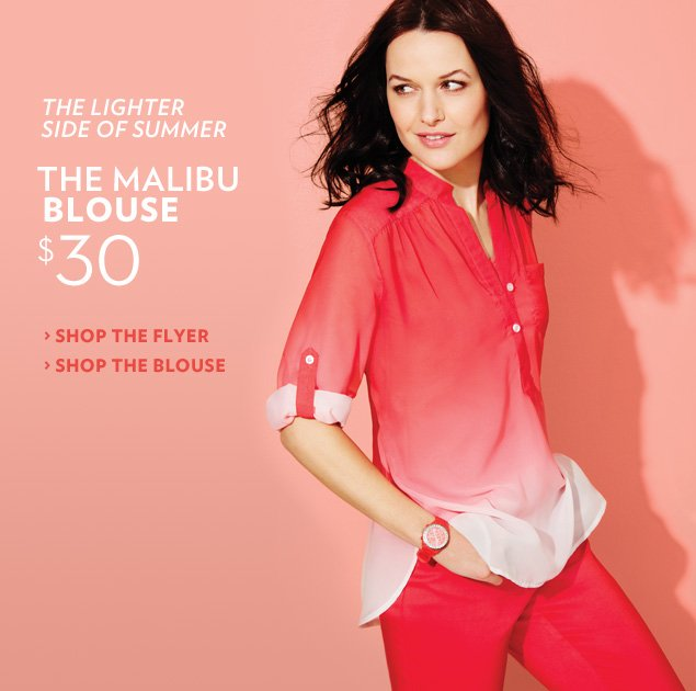 The lighter side of summer. The Malibu Blouse $30
