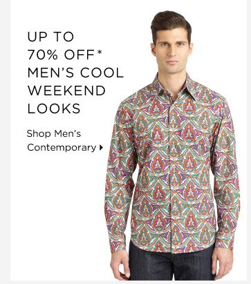 Up To 70% Off* Men's Cool Weekend Looks