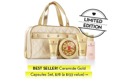 LIMITED EDITION. BEST SELLER! Ceramide Gold Capsules Set, $78 (a $133 value).