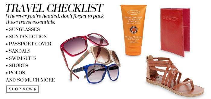 Travel Checklist. Shop Now.