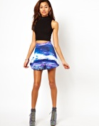 Motel Kadie Skirt In New World Print