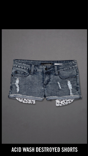 ACID WASH DESTROYED SHORTS