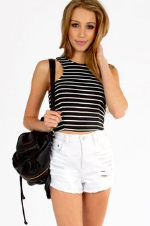 Wide Ruled Crop Top $18