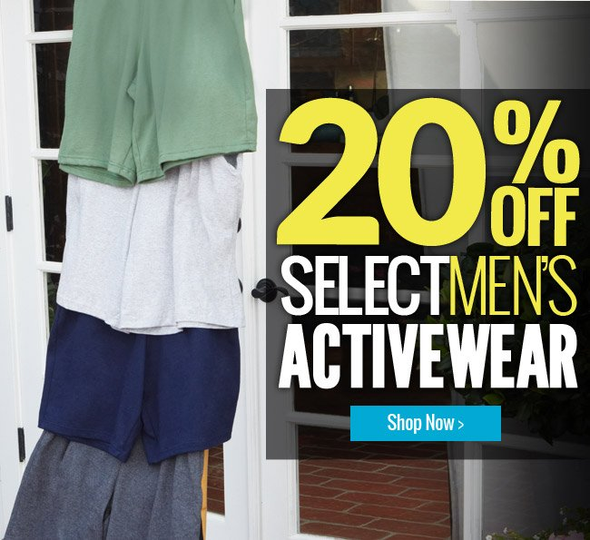 Receive 20% off select styles of Men's Activewear!