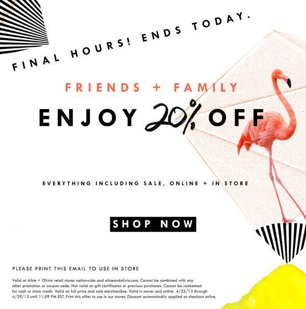 Shop Friends + Family Sale