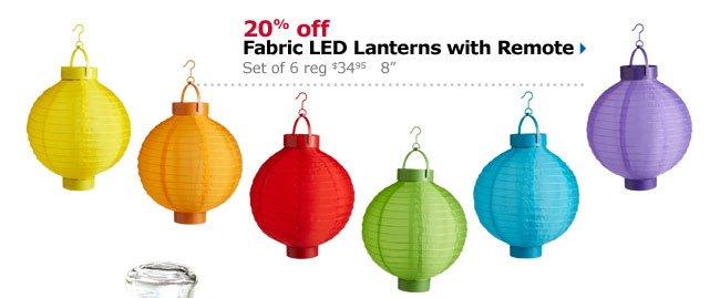"20% off Fabric LED Lanterns with Remote Set of 6 reg $34.95 8"""