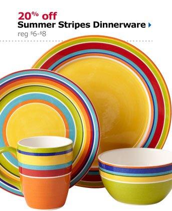 20% off Summer Stripes Dinnerware