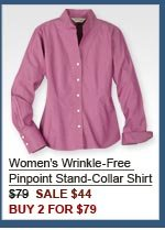 Women's Wrinkle-Free  Pinpoint Stand-Collar Shirt $79  SALE $44