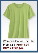 Women's Cotton Tee Shirt From $34  From $24 BUY 2 FOR $44