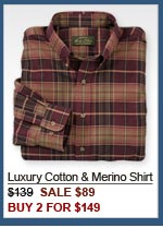 Luxury Cotton & Merino Shirt $139  SALE $89 BUY 2 FOR $149