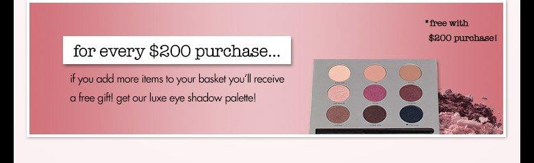 spend $200 get eye shadowpalette