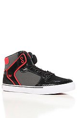 The Vaider Sneaker in Snakeskin Embossed Black Leather, Grey Microperf Nubuck, & Red Accents