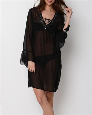 Yuka Beach Sequin Accented Long Cover-Up