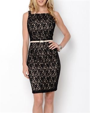 Taylor Avedon Belted Embroidered Dress