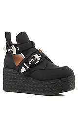 The Platrane Espadrille Shoe in Black Fabric