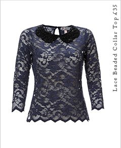 Lace Beaded Collar Top