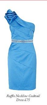 Ruffle Neckline Cocktail Dress