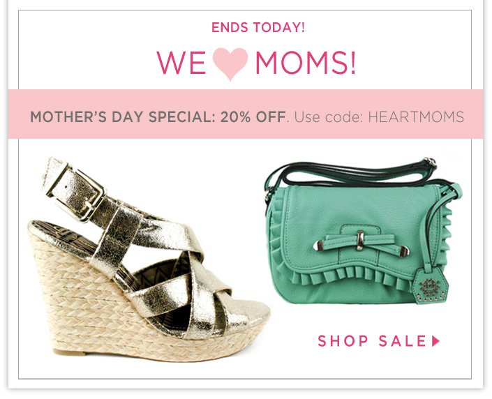 20% OFF Select shoes, handbags and dresses. Use code: HEARTMOMS