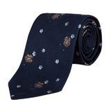 Classic Navy Embroidered Floral Tie