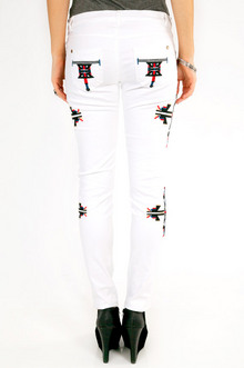 Aztec Embroidered Denim Pants $42
