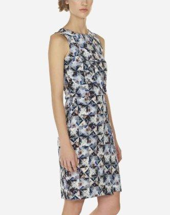 Folded Floral Print Silk Dress