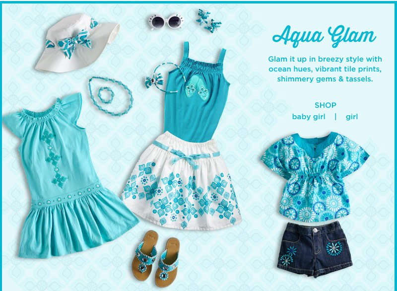 Aqua Glam. Glam it up in breezy style with ocean hues, vibrant tile prints, shimmery gems & tassels.