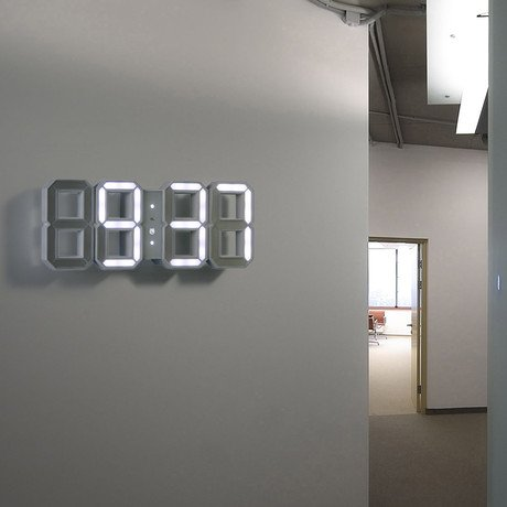 White + White Digital LED Clock