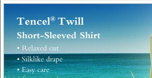 Tencel  Twill Short-Sleeved Shirt  - • Relaxed cut • Silklike drape • Easy care