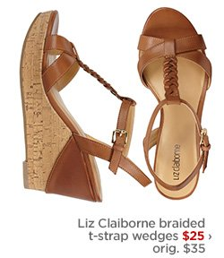 Liz Claiborne braided t–strap wedges $25 $35