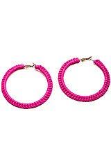 The Hot Pink Medium Hoop Earrings