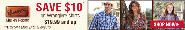 $10 Rebate on Wrangler Shirts $19.99 or more!