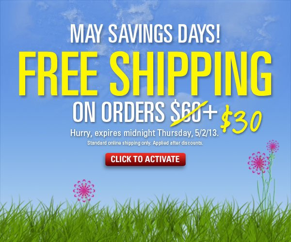 Free Standard Shipping on orders $30+