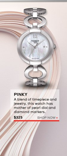 Pinky - a blend of timepiece and jewelry, this watch has mother of pearl dial and diamond markers. $325