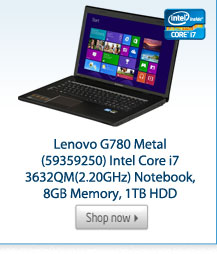 Lenovo G780 Metal (59359250) Intel Core i7 3632QM(2.20GHz) Notebook, 8GB Memory, 1TB HDD