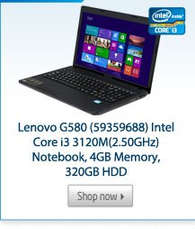 Lenovo G580 (59359688) Intel Core i3 3120M(2.50GHz) Notebook, 4GB Memory, 320GB HDD