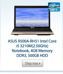 ASUS R500A-RH51 Intel Core i5 3210M(2.50GHz) Notebook, 4GB Memory DDR3, 500GB HDD