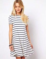 ASOS Swing Dress In Stripe Print