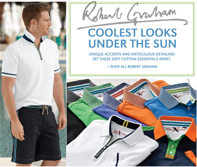 ROBERT GRAHAM | COOLEST LOOKS UNDER THE SUN | UNIQUE ACCENTS AND METICULOUS DETAILING SET THESE SOFT COTTON ESSENTIALS APART. | SHOP ALL ROBERT GRAHAM