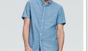 The S/S Jacquard Button Down in Light Blue/White Dot