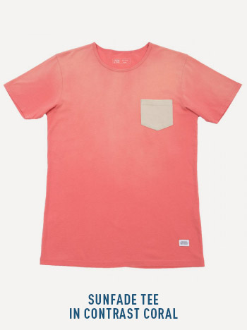 Sunfade tee in contrast coral